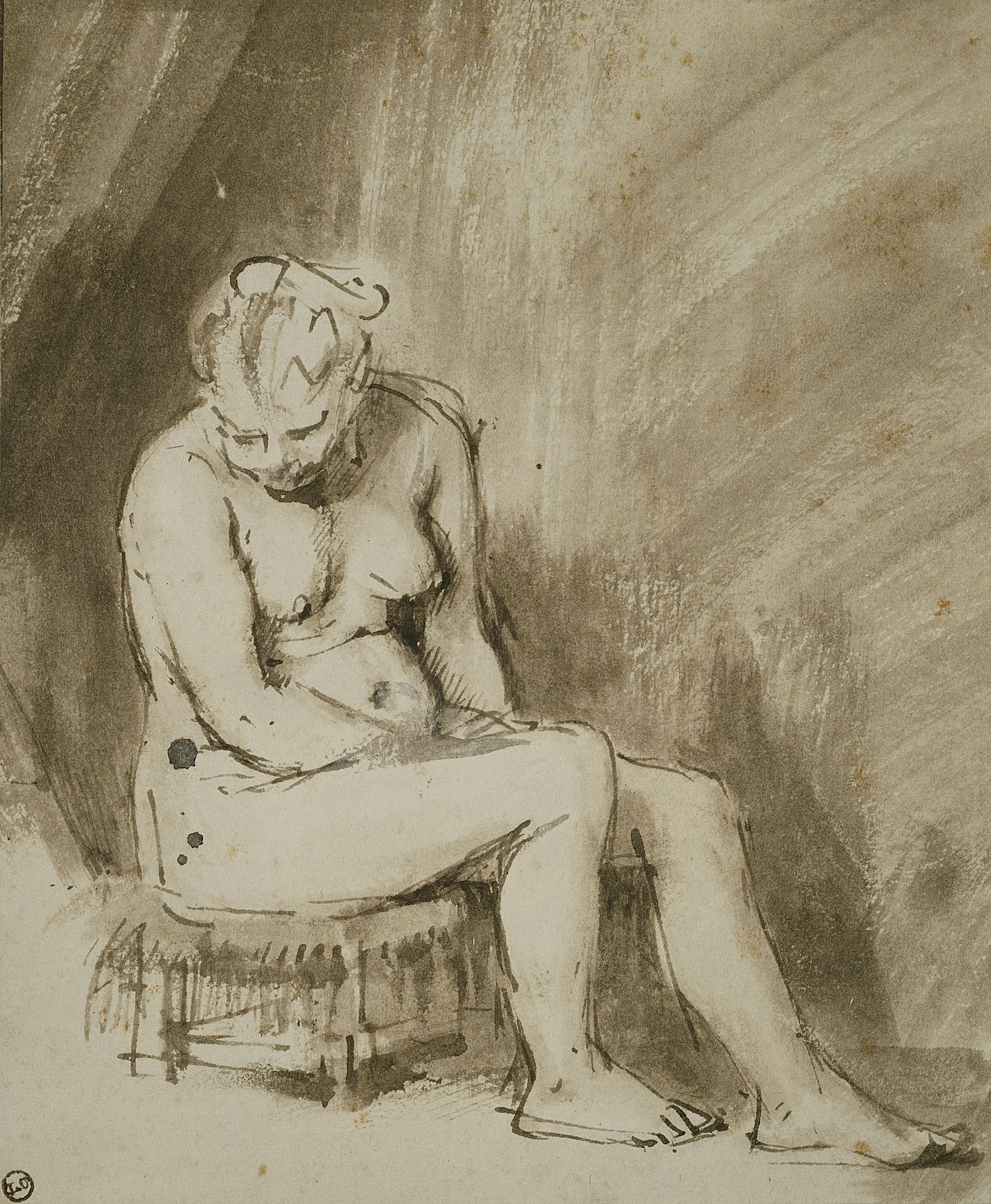 Rembrandt Harmenszoon van RijnDutch, 1606-1669Nude Woman Seated on a Stool, 1654/56Pen and brown ink and brush and brown wash on ivory laid paper, laid down on cream laid card212 x 174 mmClarence Buckingham Collection1953.38The Art Institute of Chicago
