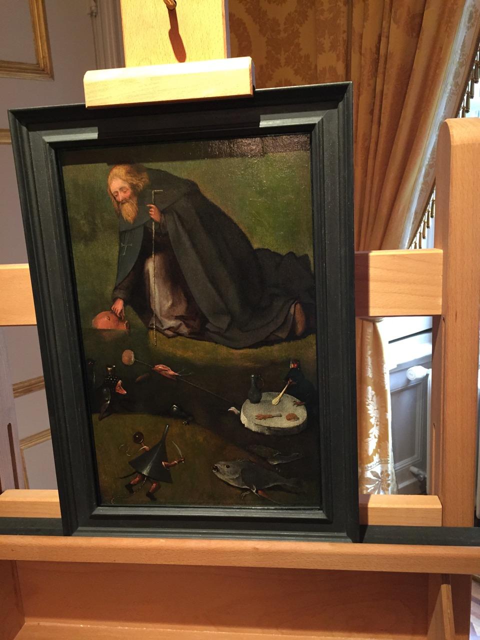 'De verzoeking van de heilige Antonius' van Jheronimus Bosch, gefotografeerd tijdens de persconferentie in het Noordbrabants Museum in Den Bosch.