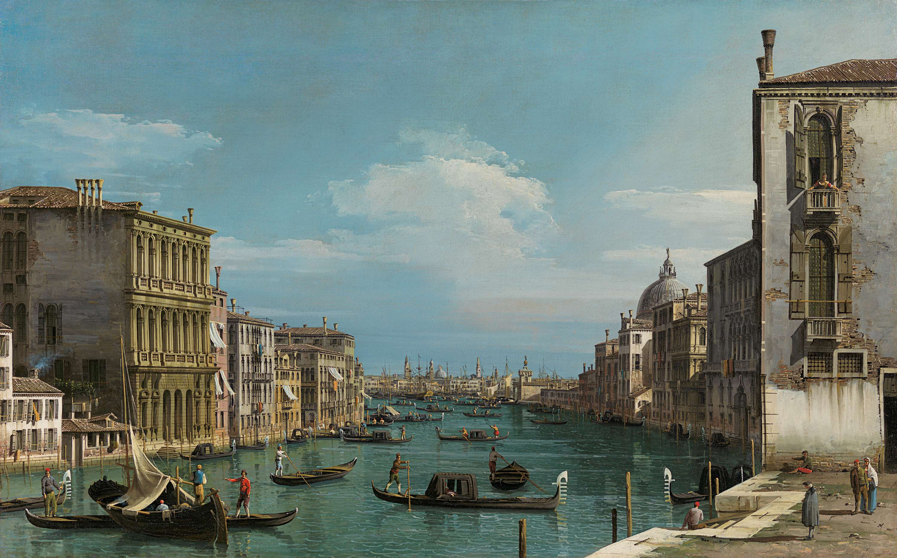 Bernardo Bellotto, Venice, a view of the Grand Canal looking east from the Palazzo Loredan Cini on the Campo San Vio, ca. 1741