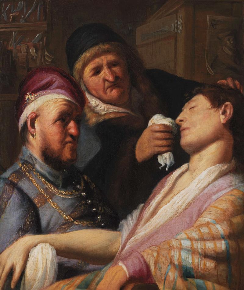 Rembrandt van Rijn, De flauwgevallen patiënt (De Reuk), 1624-1625