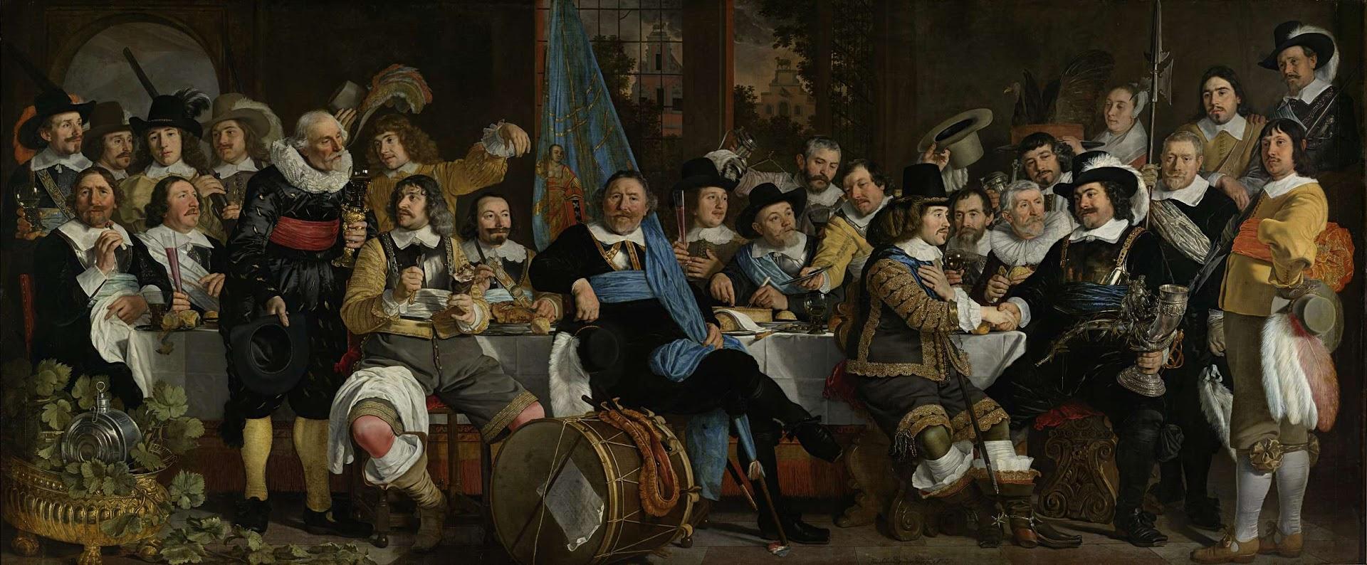 Schuttersmaaltijd ter viering van de Vrede van Munster, Bartholomeus van der Helst (1648), Collectie Rijksmuseum