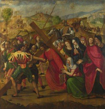 De lijdensweg geschilderd door Ridolfo Ghirlandaio