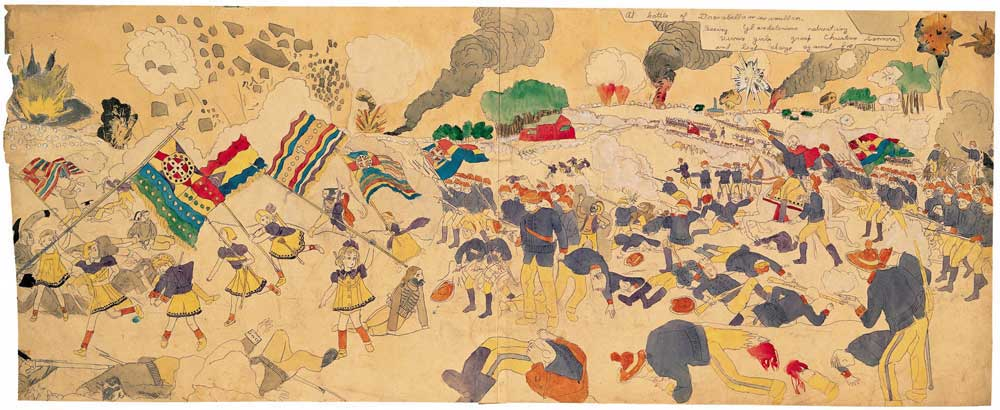 Henry Darger, At battle of Drosabellamaximillan. Seeing Glandelinians retreating Vivian Girls grasp Christian banners, and lead charge against foe (medio 20e eeuw). Collectie American Folk Art Museum