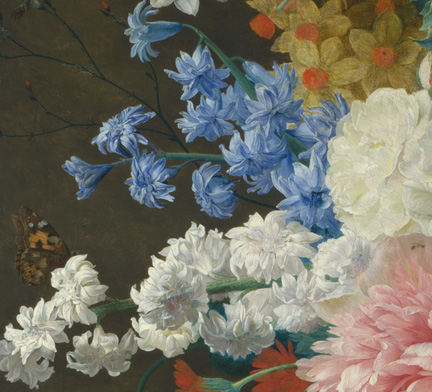 Detail Jan van Huysum, Flowers in a Terracotta Vase (1736-7)