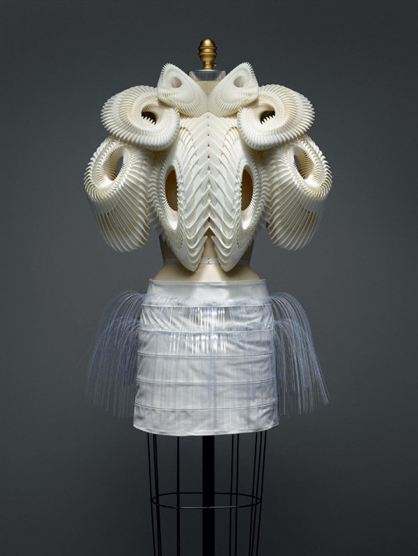 Iris van Herpen (Dutch, born 1984) Ensemble, spring/summer 2010 haute couture Dutch Polyamide, acrylic, leather The Metropolitan Museum of Art, New York, Purchase, Friends of The Costume Institute Gifts, 2015 (2016.16a, b) Photo © Nicholas Alan Cope