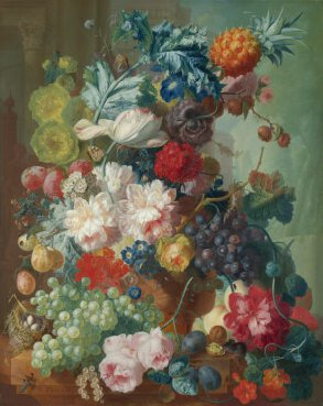 Jan van Os, Fruit and Flowers in a Terracotta Vase (1777-8)