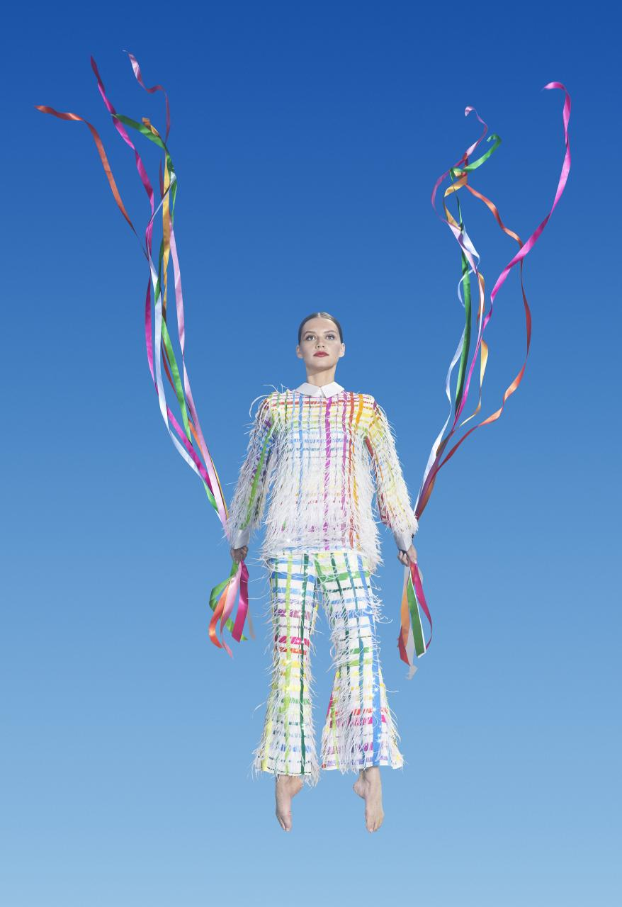 Rainbow tartan feather suit, 2015 spring, Coo-ee couture collection National Gallery of Victoria, Melbourne Purchased, NGV Supporters of Fashion and Textiles, 2015 Photo: Virginia Dowzer and Bronwyn Kidd © Romance Was Born