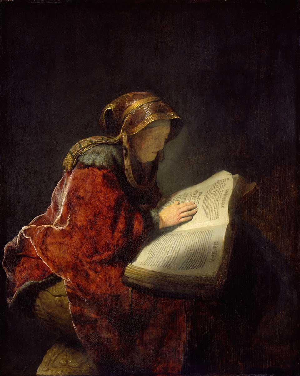 Rembrandt Harmensz. van Rijn, Oude lezende vrouw, waarschijnlijk de profetes Hanna (1631). Collectie Rijksmuseum Amsterdam