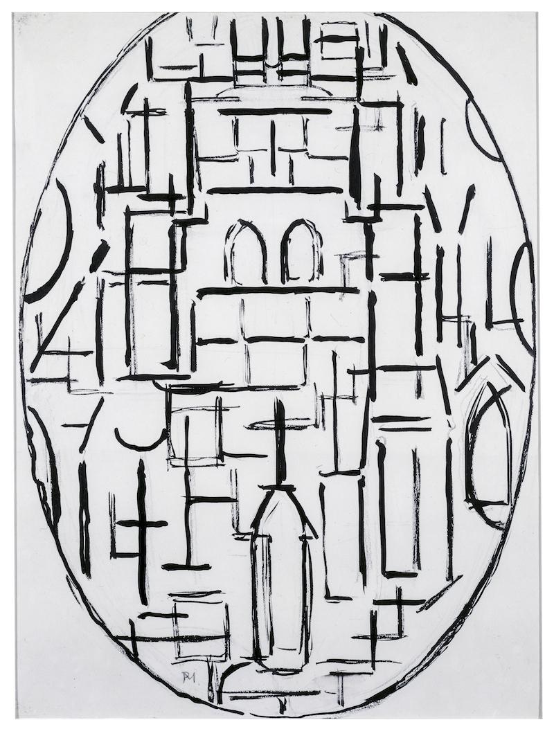 Piet Mondriaan, Kerk façade 1: Kerk te Domburg, 1915. Collectie Gemeentemuseum Den Haag