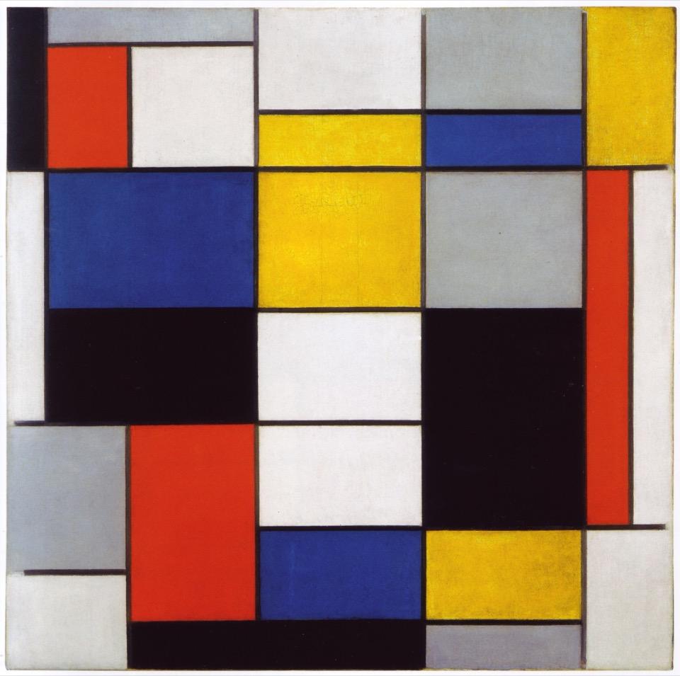 Piet Mondriaan, Grote compositie met zwart rood grijs geel en blauw, 1920, Galleria nazionale d'arte moderna e contemporanea, Rome