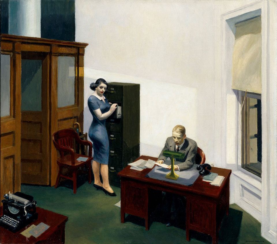 Edward Hopper, Office at night (1940) Walker Art Centre Minneapolis, Verenigde Staten