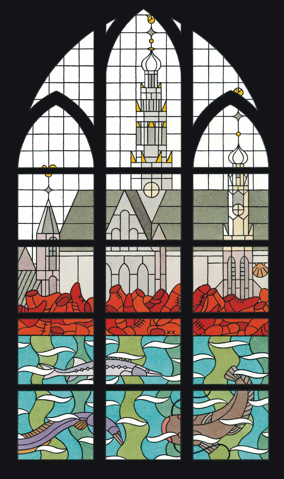 Glas-in-lood ontwerp van Joost Swarte voor de Bakenesserkerk in Haarlem.