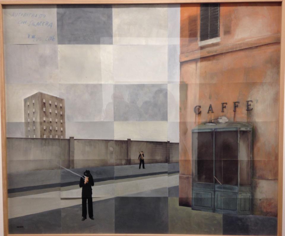Paolo Ventura. Ricordo di Lambrate, 2016 handgeschilderde foto en collage, 120 x 142 cm