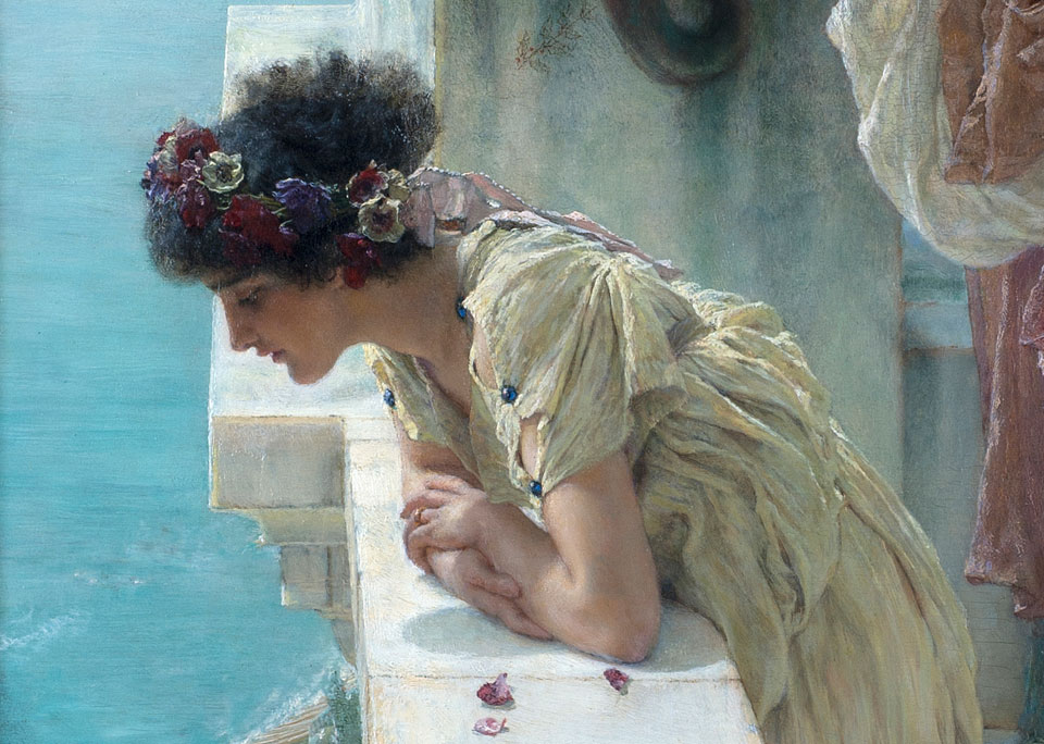 Sir Lawrence Alma-Tadema, Gunstig uitkijkpunt (detail), 1895