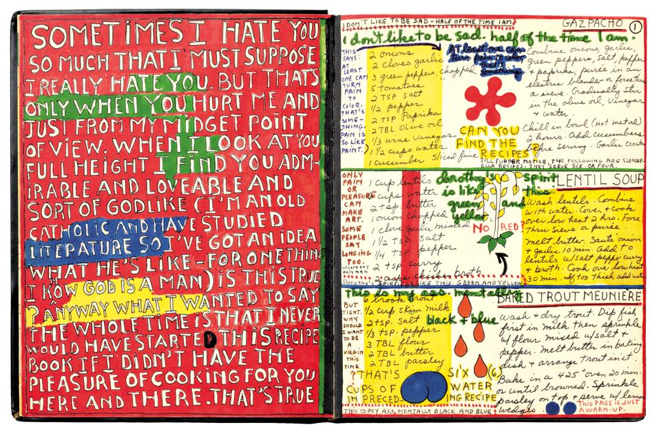 Pagina's uit het Cookbook van Dorothy Iannone.