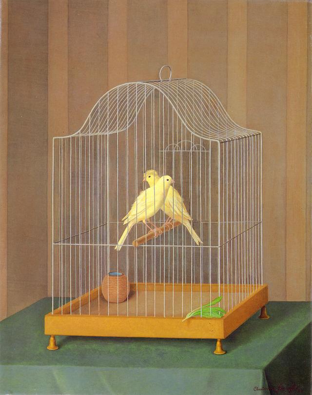 Antonio Donghi, Twee kanaries in een kooi (1932)