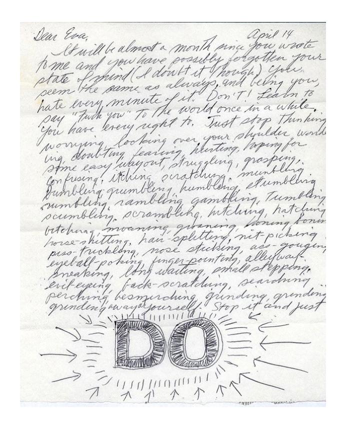 Doen: De brief van Sol LeWitt met advies aan Eva Hesse