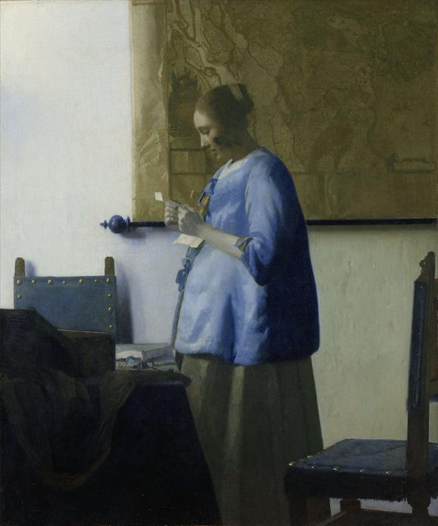 Johannes Vermeer, Brieflezende vrouw in het blauw, ca. 1663
